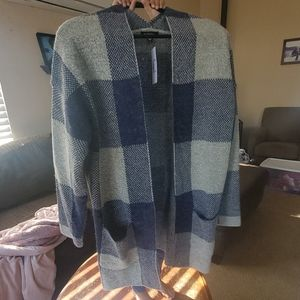 Navy and grey plaid fuzzy cardigan-M/L